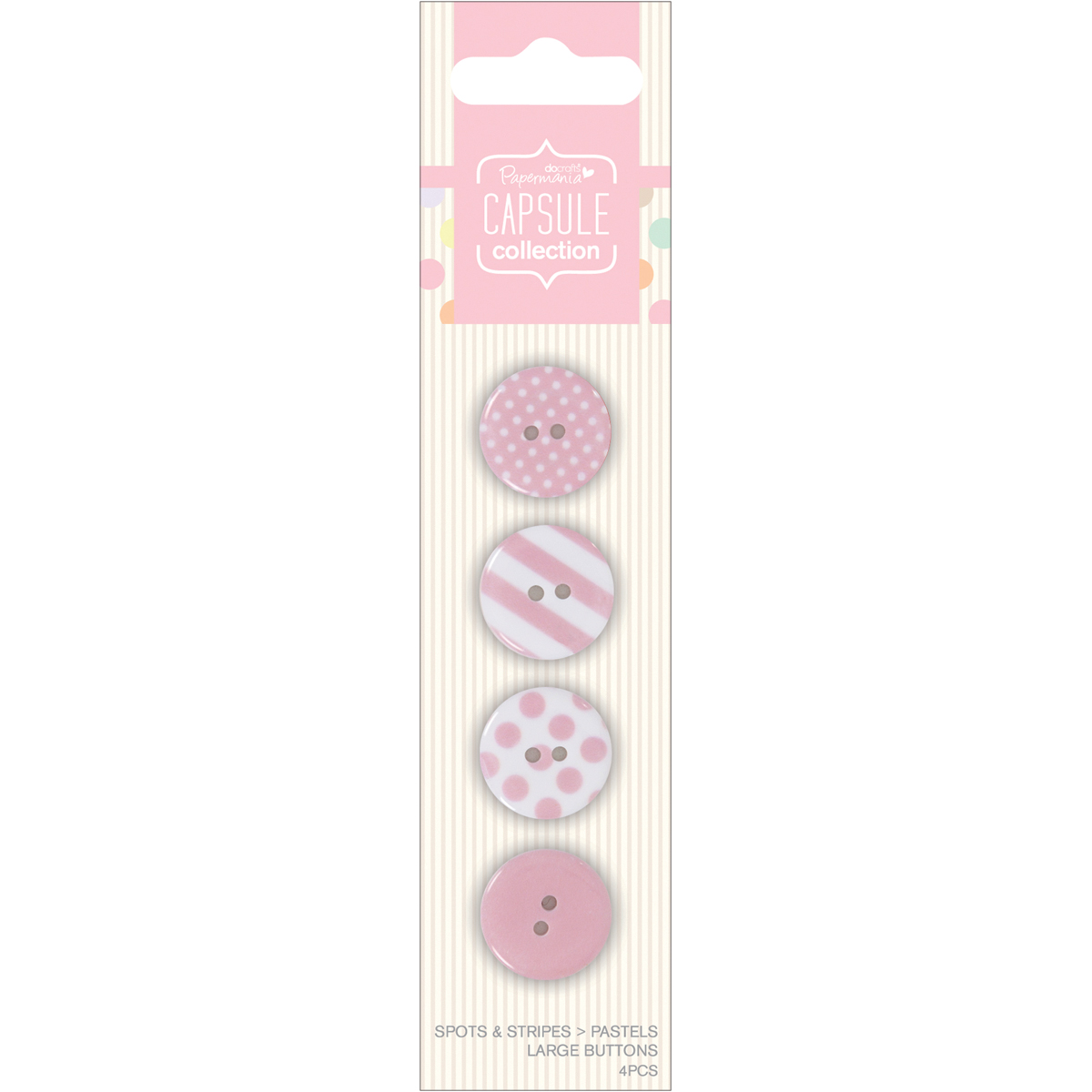 Docrafts Papermania Capsule Large Buttons Spots & Stripes Pastels