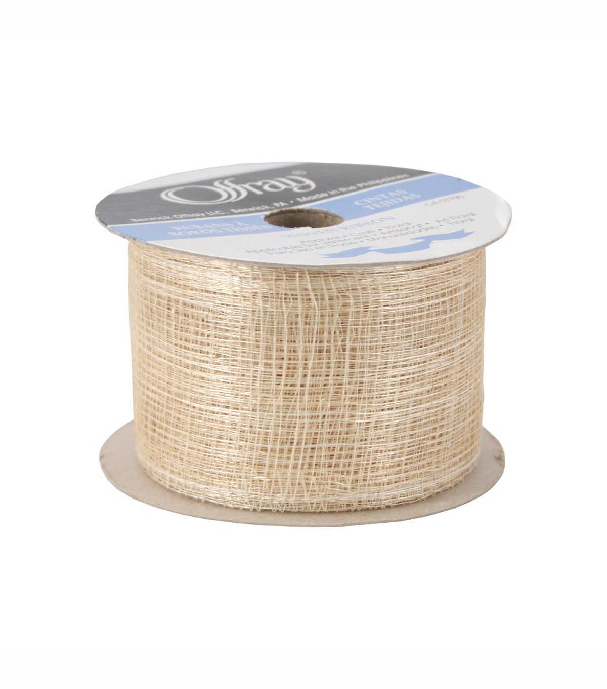 "Offray 2 3/4"" Luxury Lionsweb Ribbon Beige"