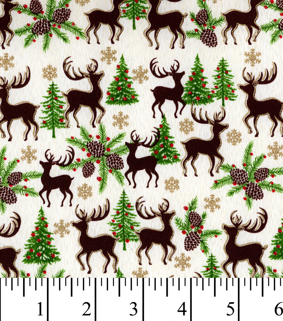 "Maker's Holiday Linen Fabric 58""-Deer with Glitter"