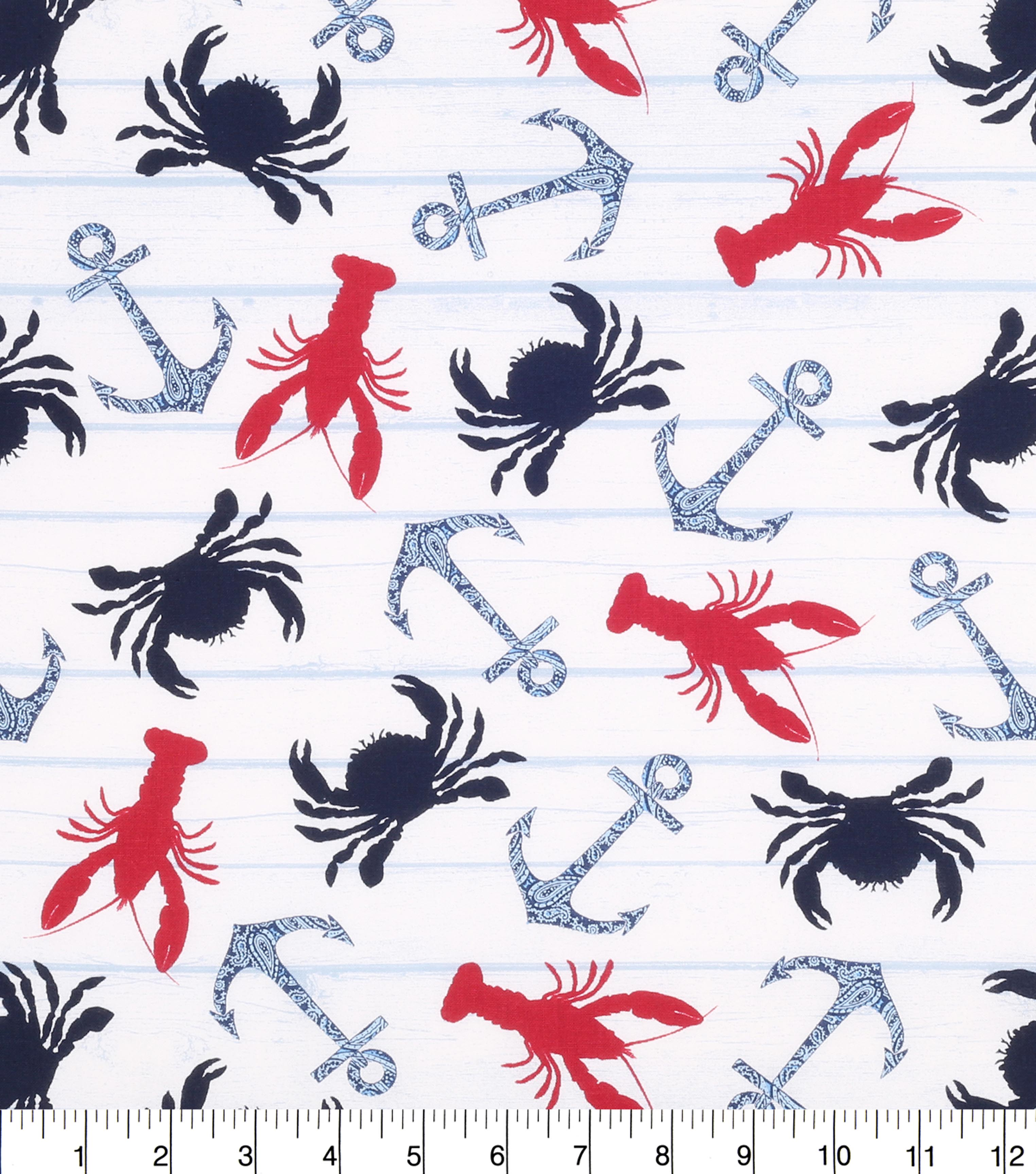 Nautical Cotton Fabric 43\u0022-Crab And Paisley Anchor