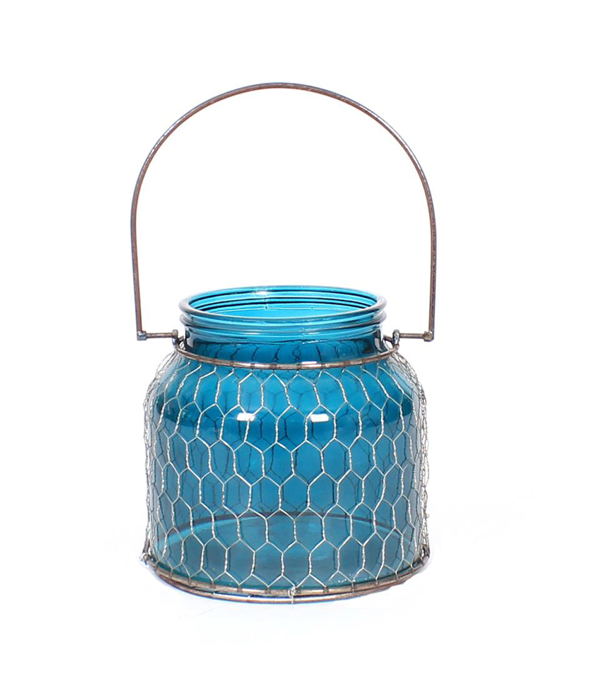 Fall Into Color Large Glass & Metal Candle Holder-Turquoise