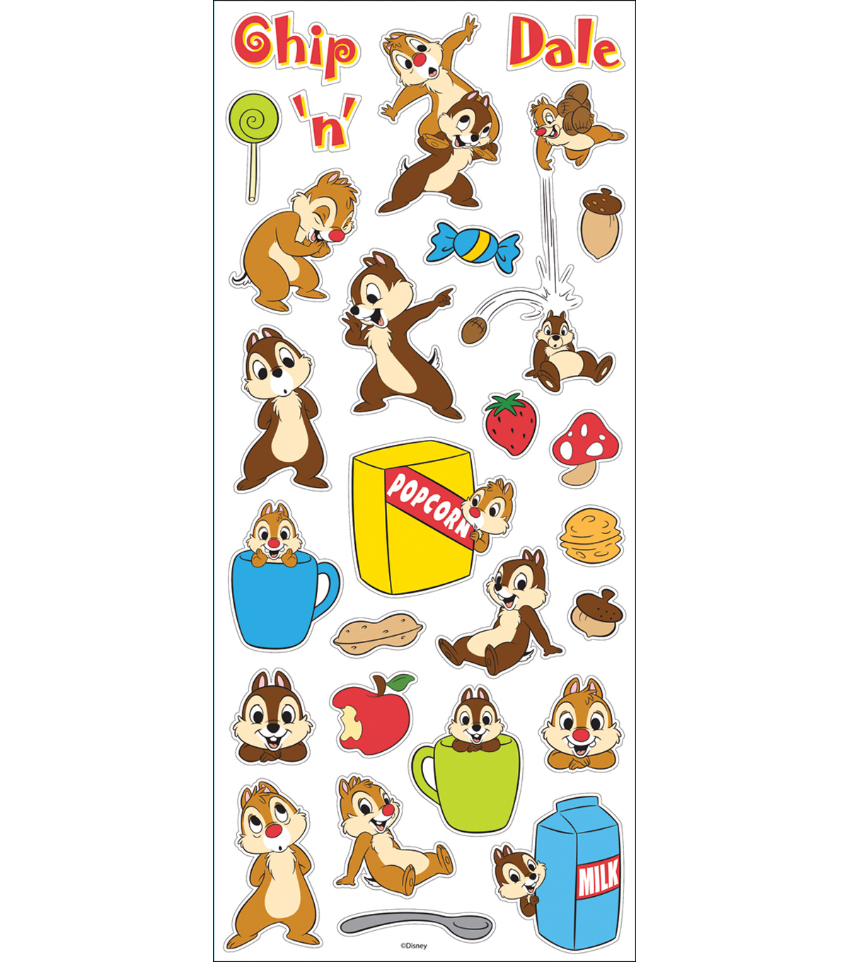 Disney Large Flat Stickers-Chip N' Dale