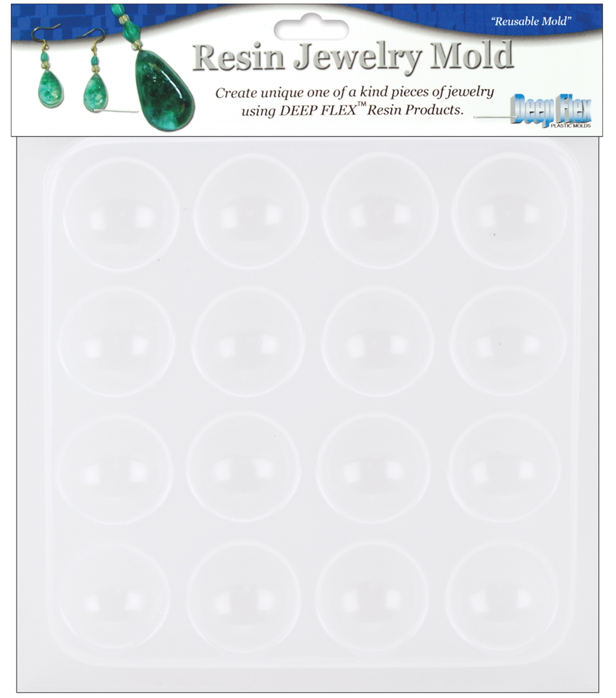 Yaley Resin Jewelry Reusable Plastic Mold 6-1/2\u0022x7\u0022-Cabachons16Shapes