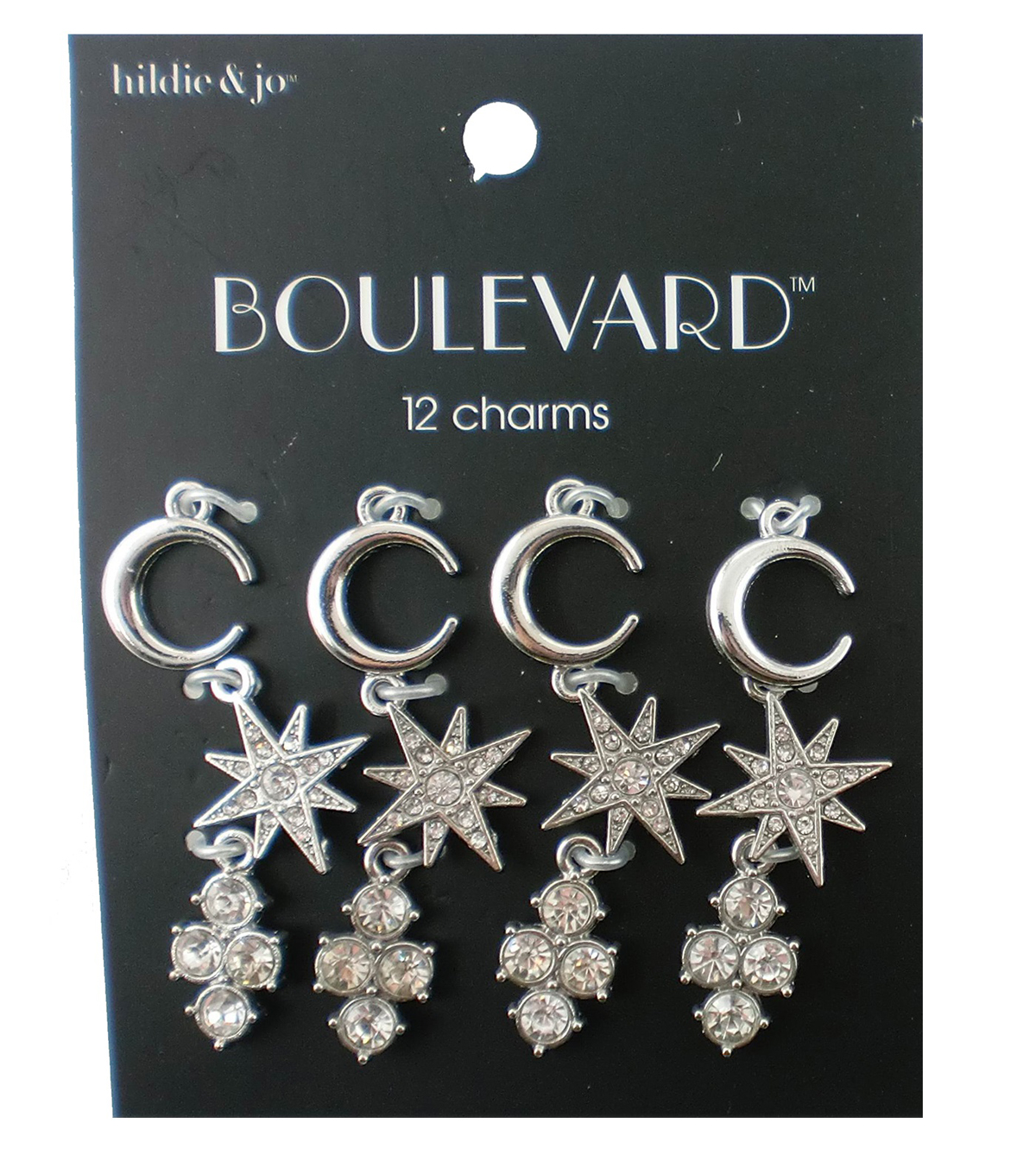 hildie & jo™ Boulevard 12 Pack Moon & Star Silver Charms-Crystals