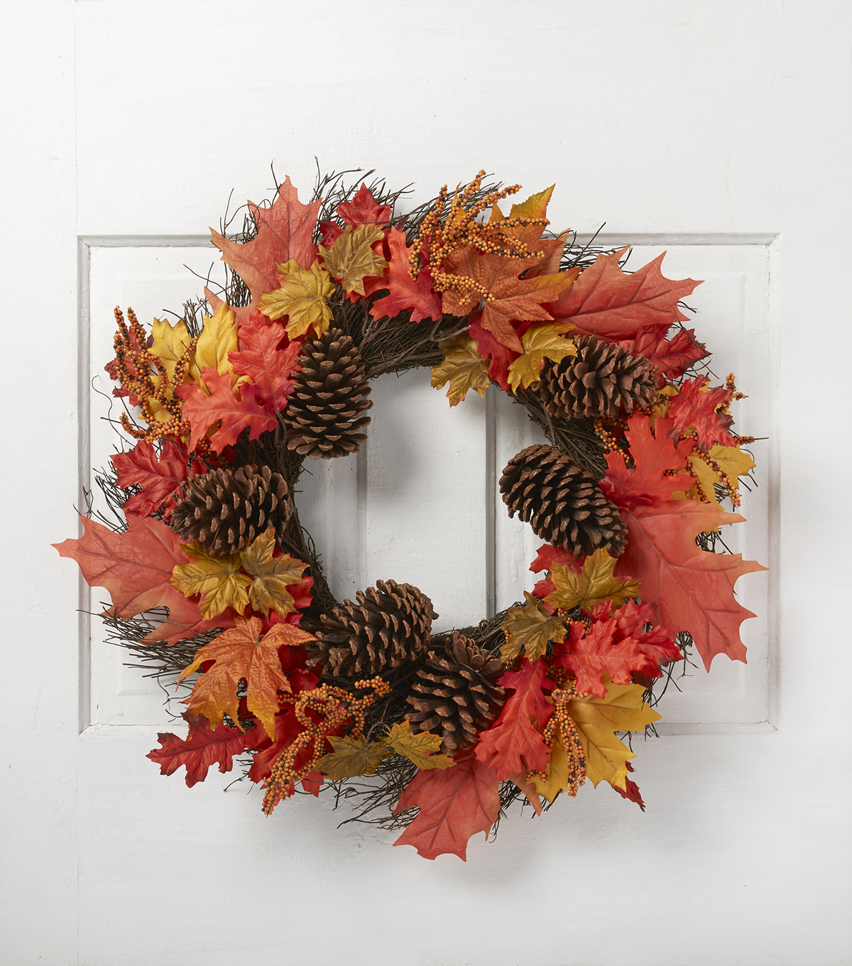 Blooming Autumn 25'' Leaves, Berries & Pinecone Wreath