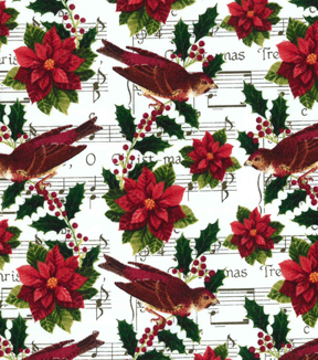 Christmas Cotton Fabric 43\u0022-Poinsettia Sheet Music