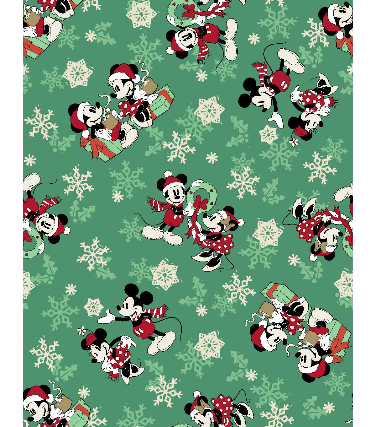 Disney® Cotton Print Fabric 43''-Snowflakes, Mickey & Minnie Mouse