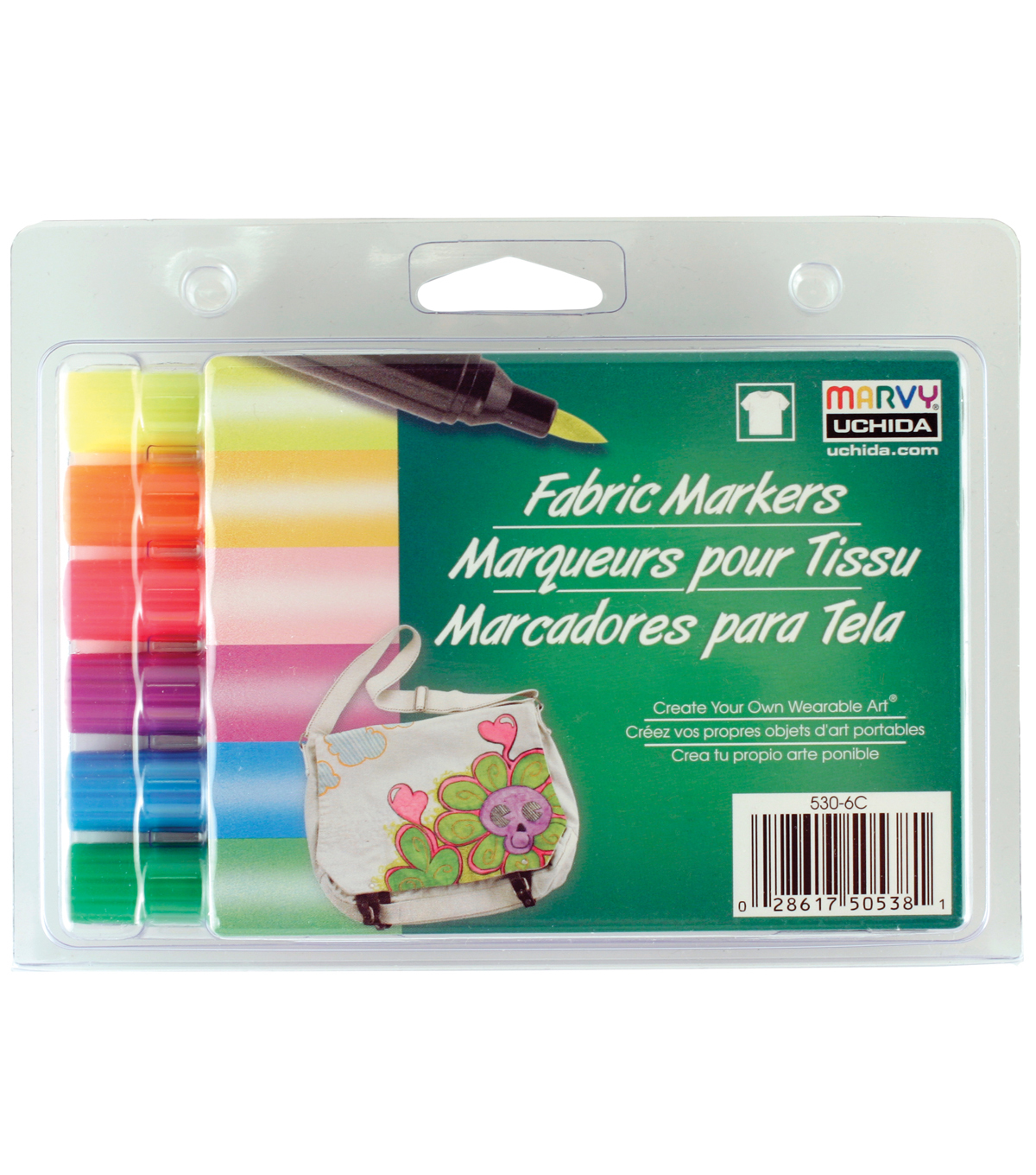 Marvy Uchida® Brush Tip Fluorescent Set Fabric Marker Set