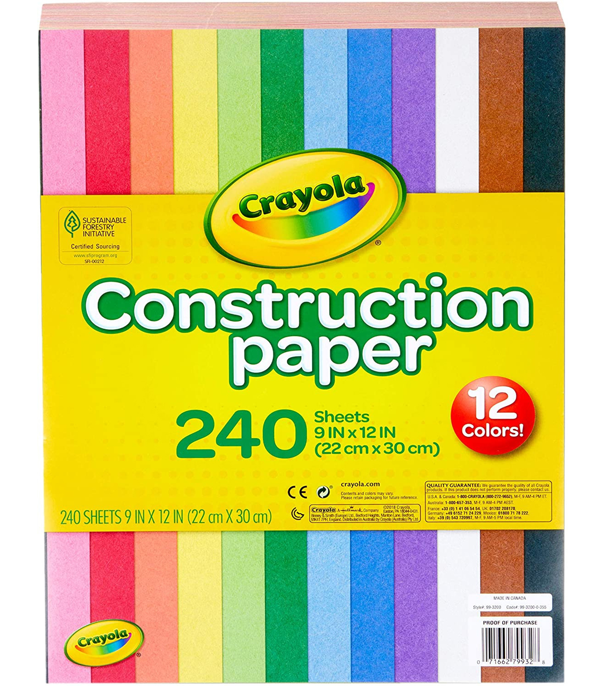 "Crayola Construction Paper Pad 9""X12""- 240 Sheets/Pkg"