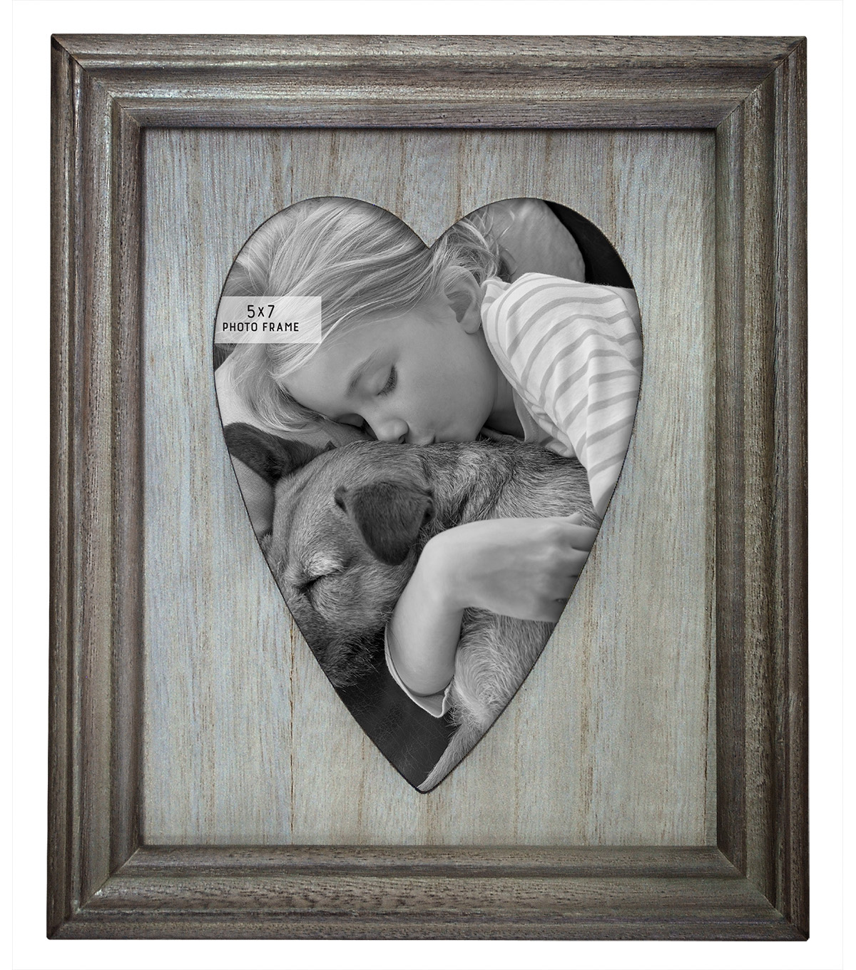 Tabletop Frame 5X7-Heart Vintage Gray