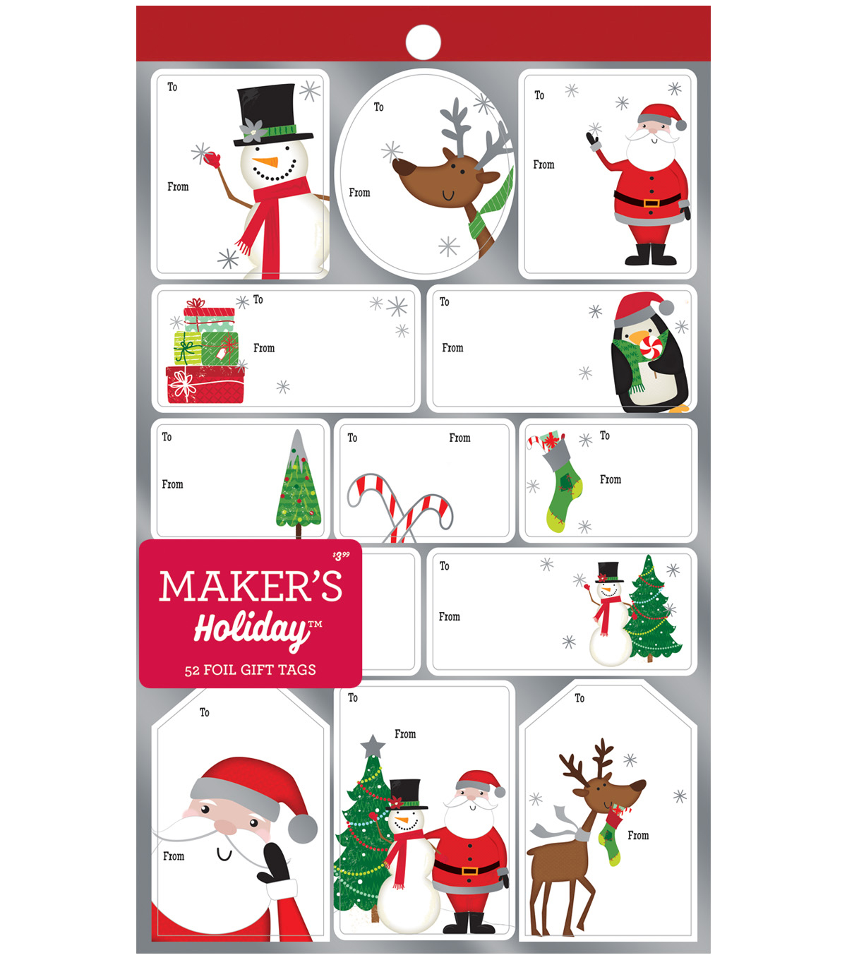 Maker\u0027s Holiday Christmas 52 pk 5.75\u0027\u0027x9.5\u0027\u0027 Foil Gift Tags-Whimsy Icons