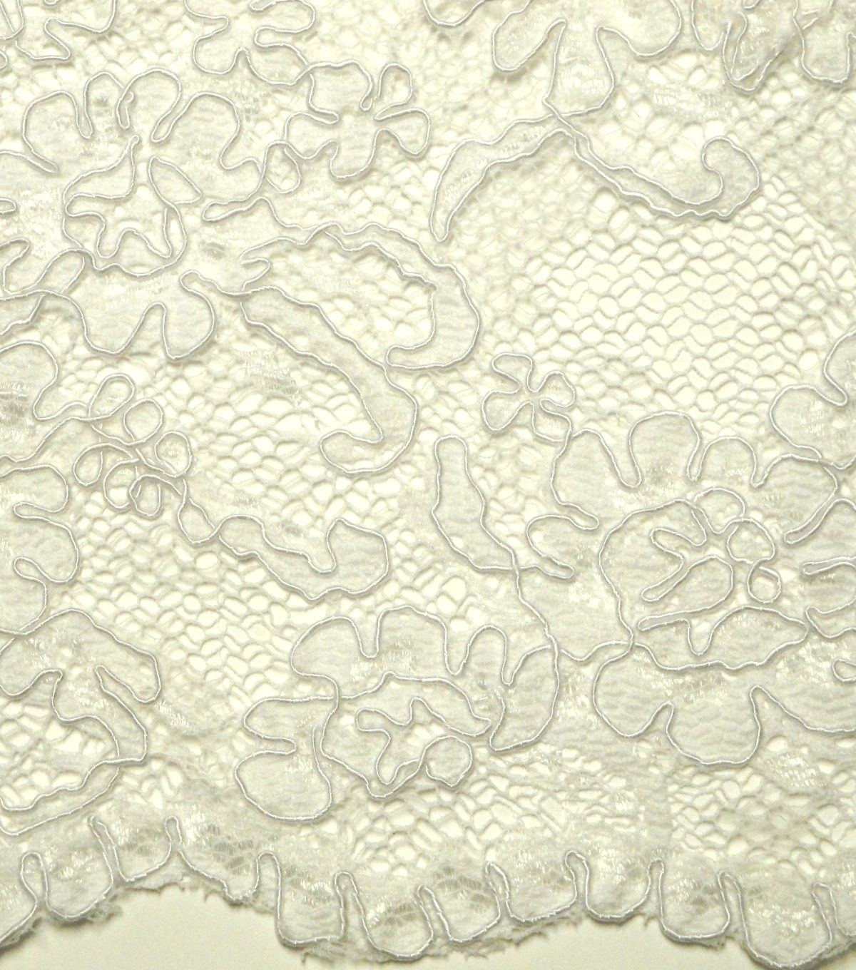 Designer Vault Bridal Fabric - Corded Embroidered Deanna Lace Ivory