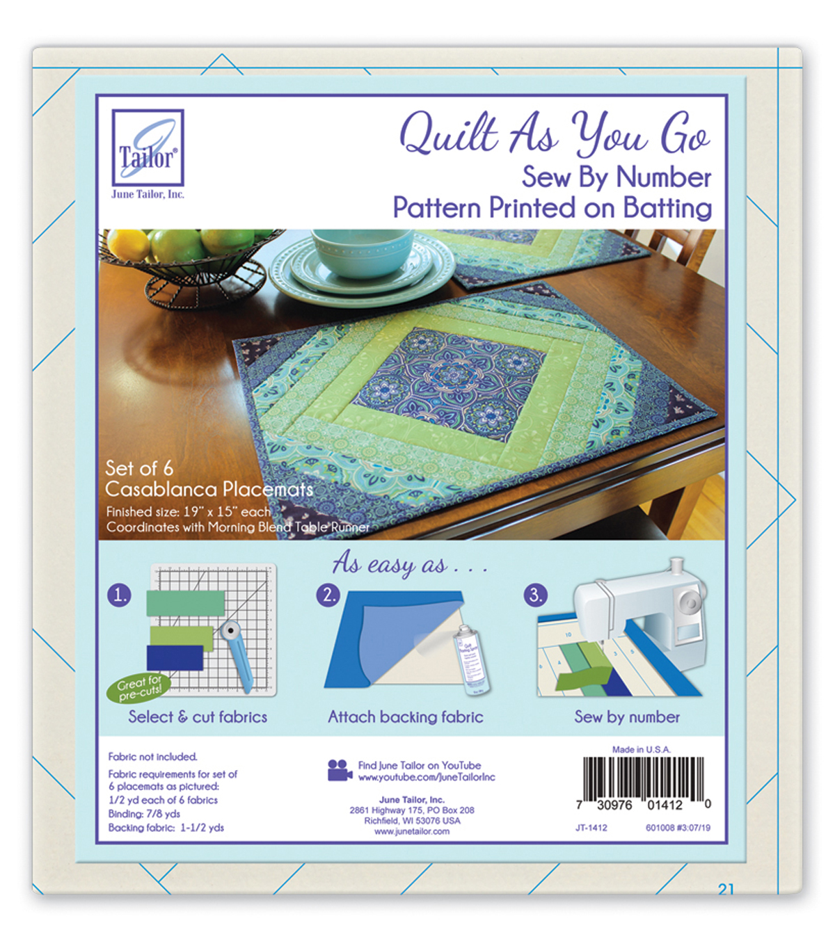 June Tailor® Quilt As You Go Batting Placemats-Casablanca