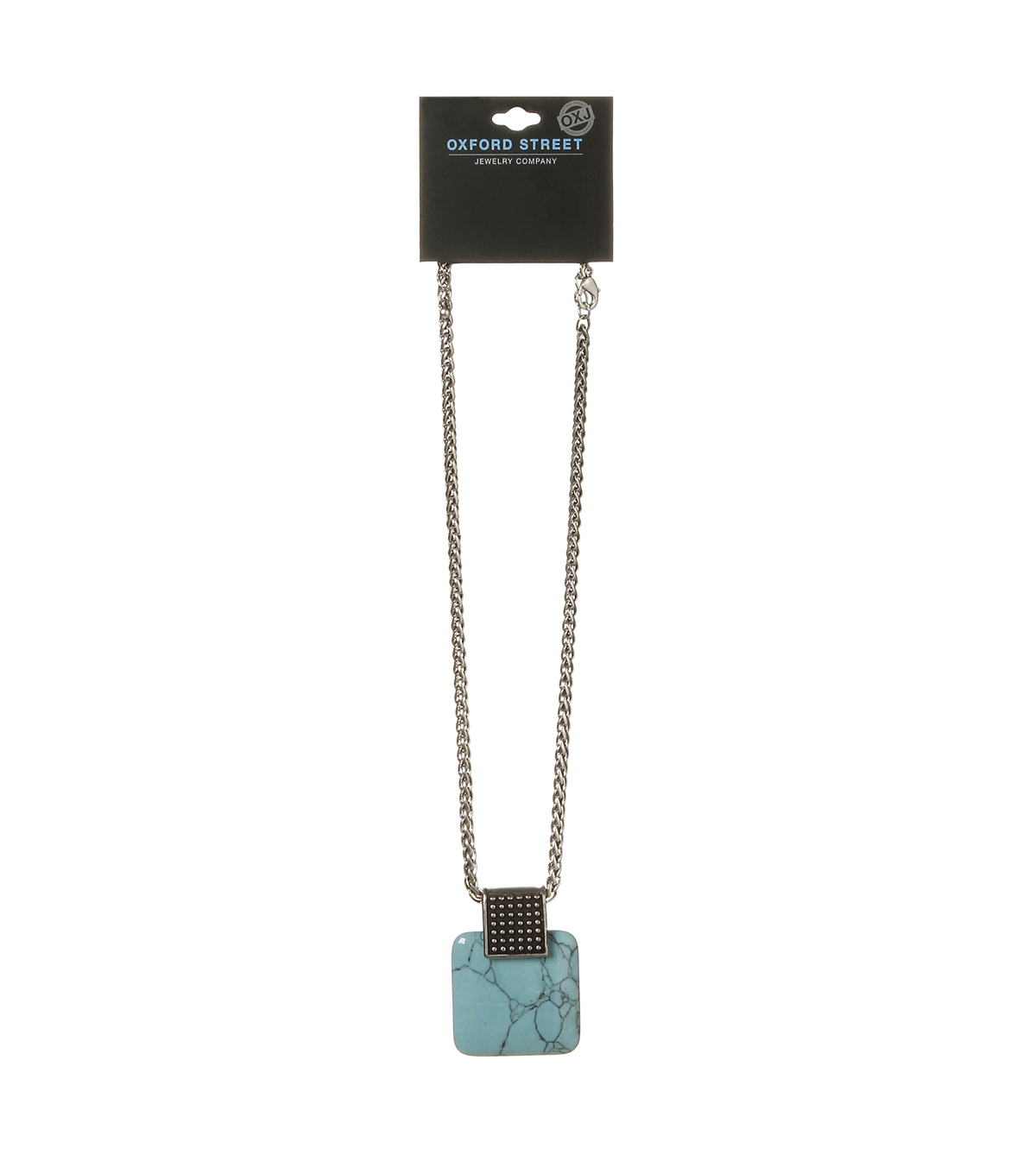 Oxford Street Jewelry Co. Square Turquoise Stone & Silver Necklace