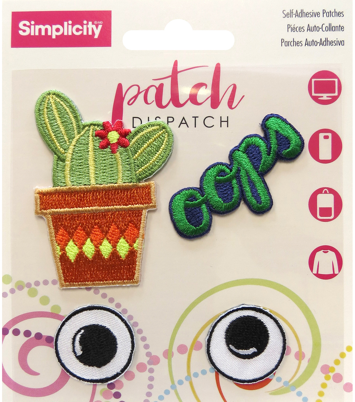 Simplicity® 4 Pack Embroidered Self-Adhesive Patches-Cactus