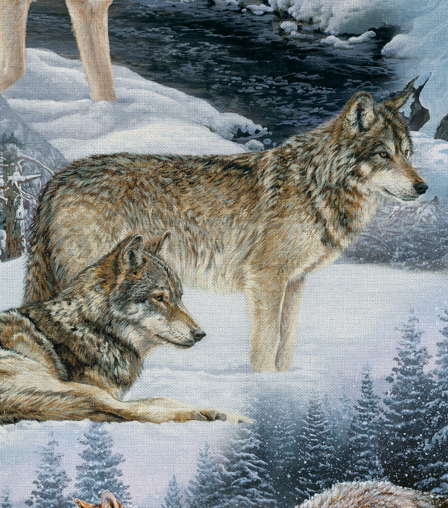 "Novelty Cotton Fabric 44""-Wolves In Winter"