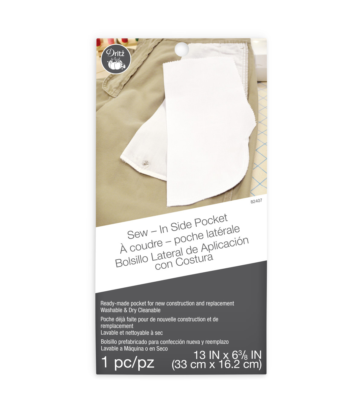 Sew-In Side Pocket 100% Cotton 1/Pkg