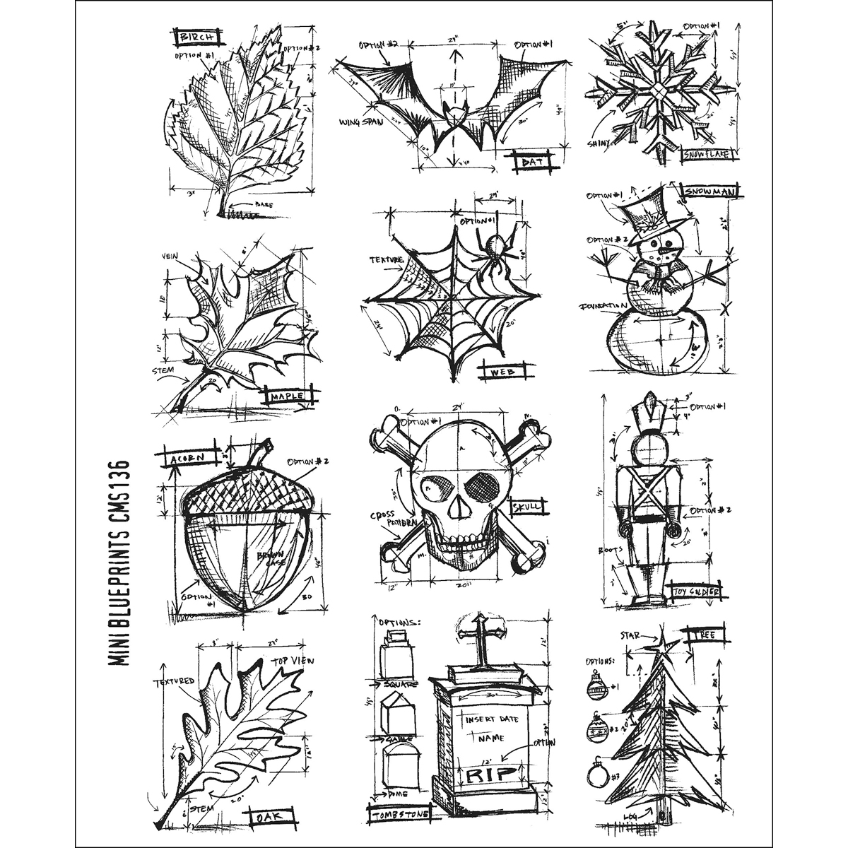 Stampers Anonymous Large Cling Rubber Stamp Set Mini Blueprint