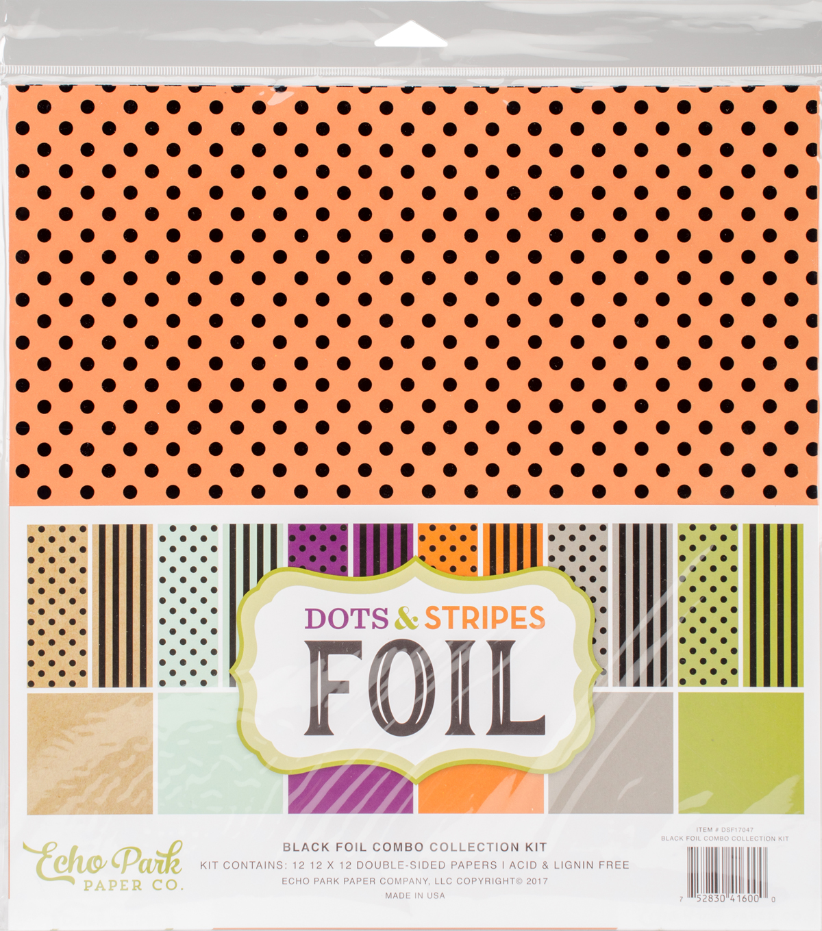"Double-Sided Dots & Stripes Foil 12""X12""-Assorted Combos"