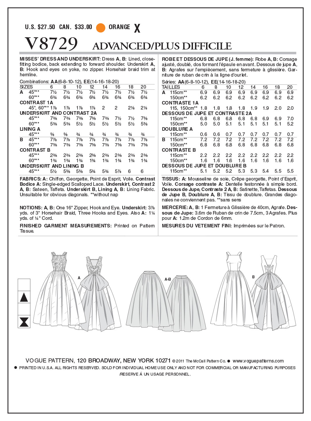 Vogue Patterns Misses Dress-V8729