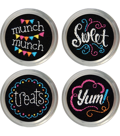 Sweets Jar Topper Embroidery Kit-Set Of 4