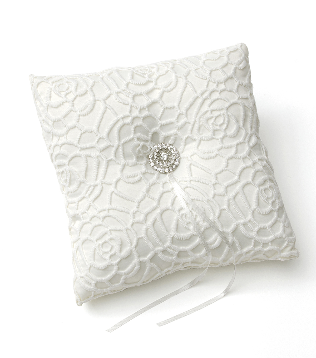 Save The Date Modern Lace Ring Bearer Pillow-White