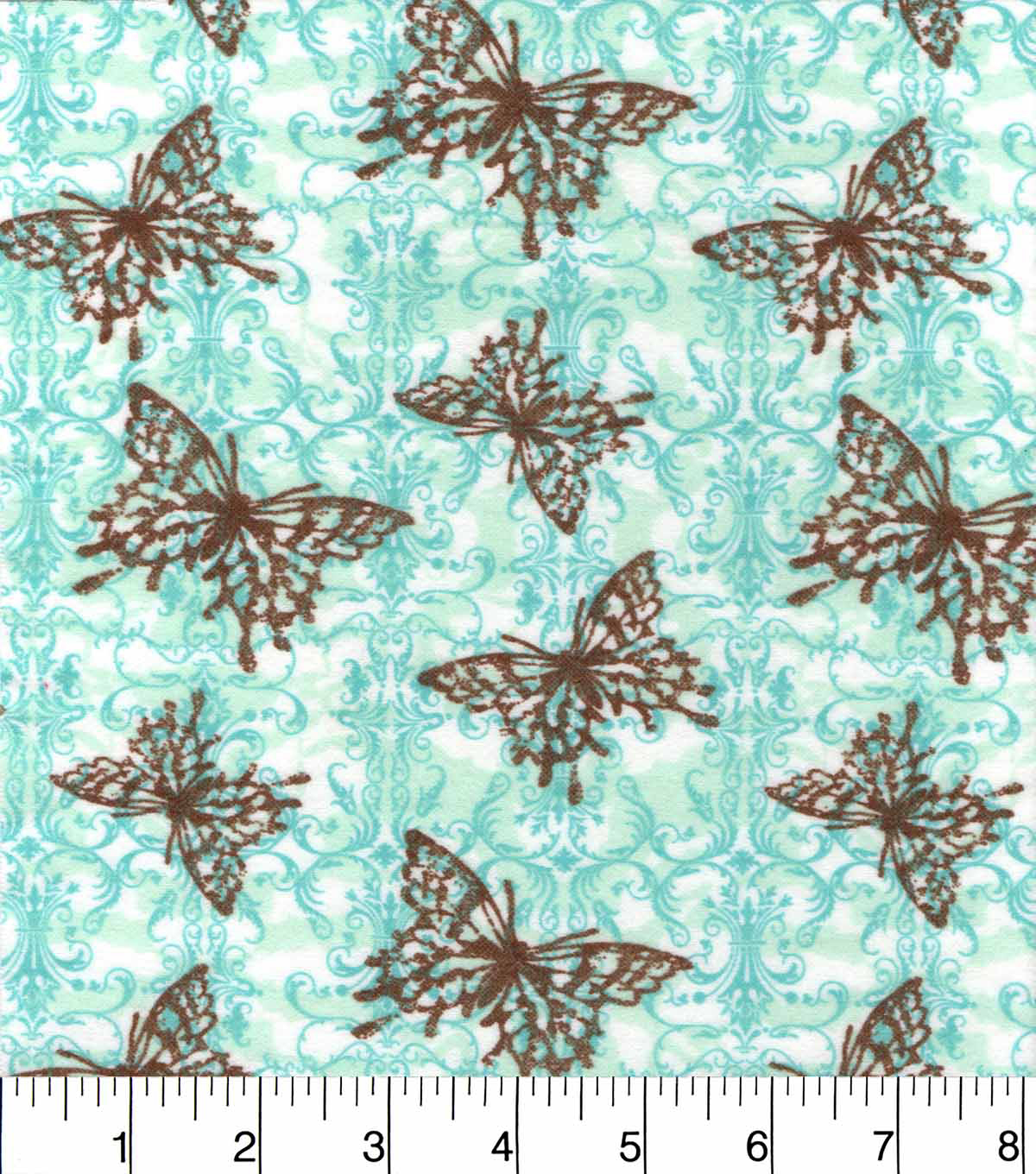 "Snuggle Flannel Fabric 43.8""-Brown Blue Butterfly"