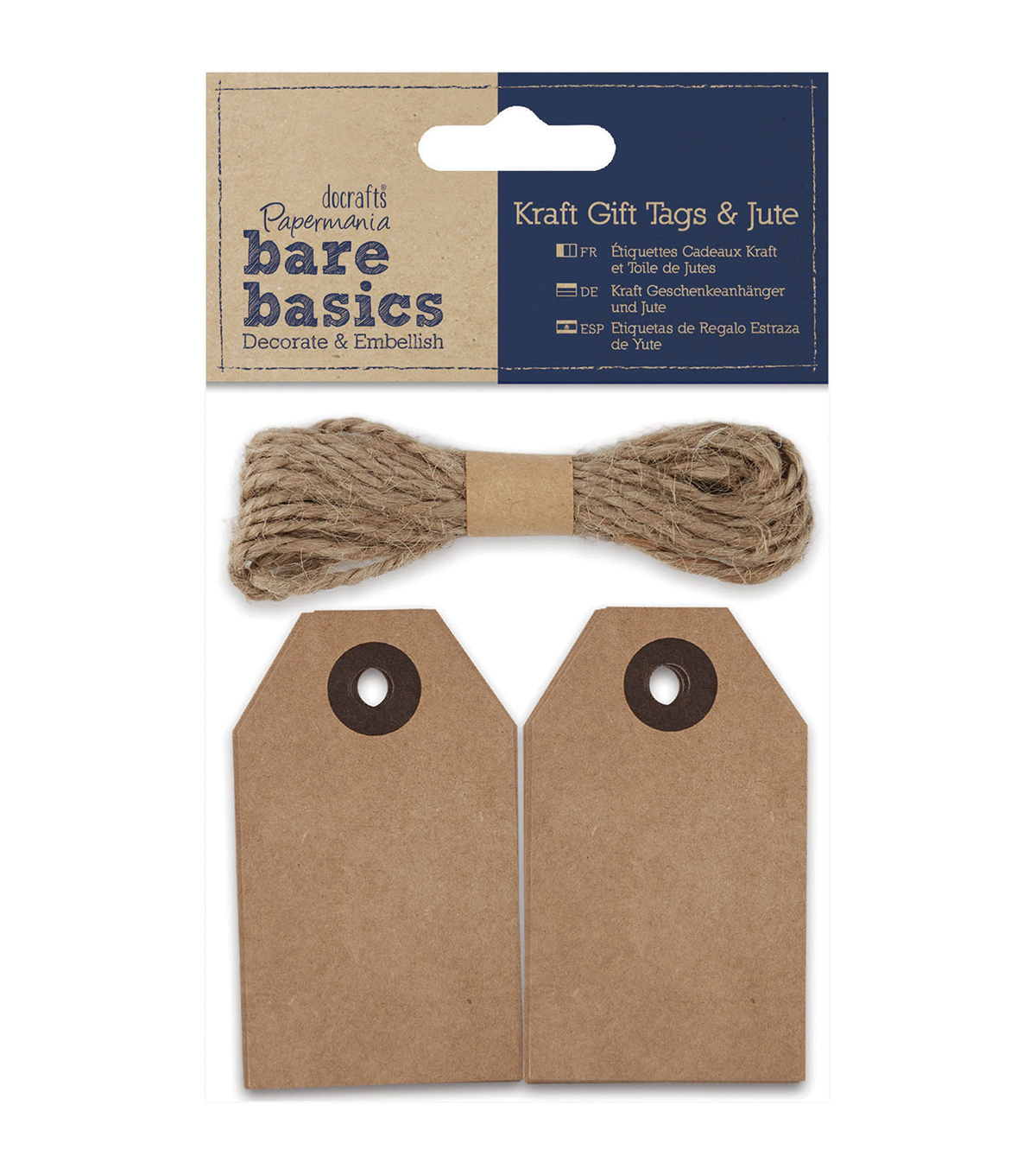 Papermania Bare Basics Natural Kraft Gift Cardstock Tags With Jute
