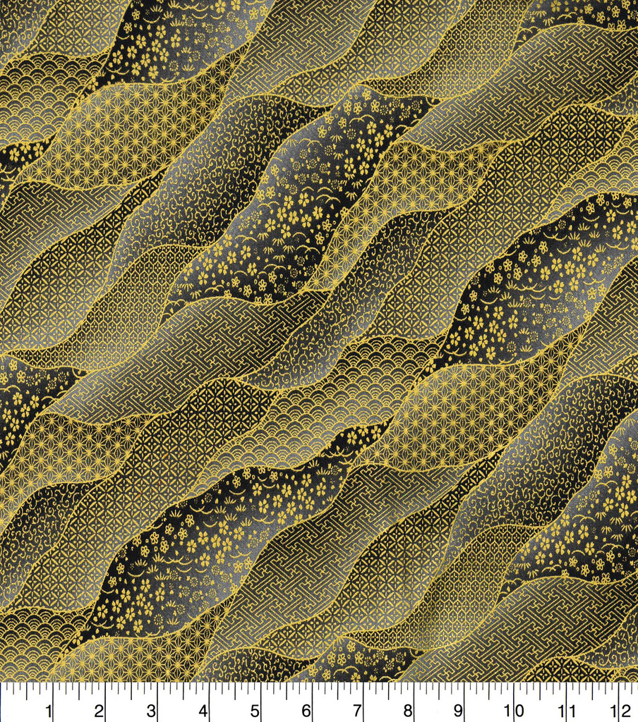 Asian Inspired Cotton Fabric 43\u0022-Packed Waves Black Metallic