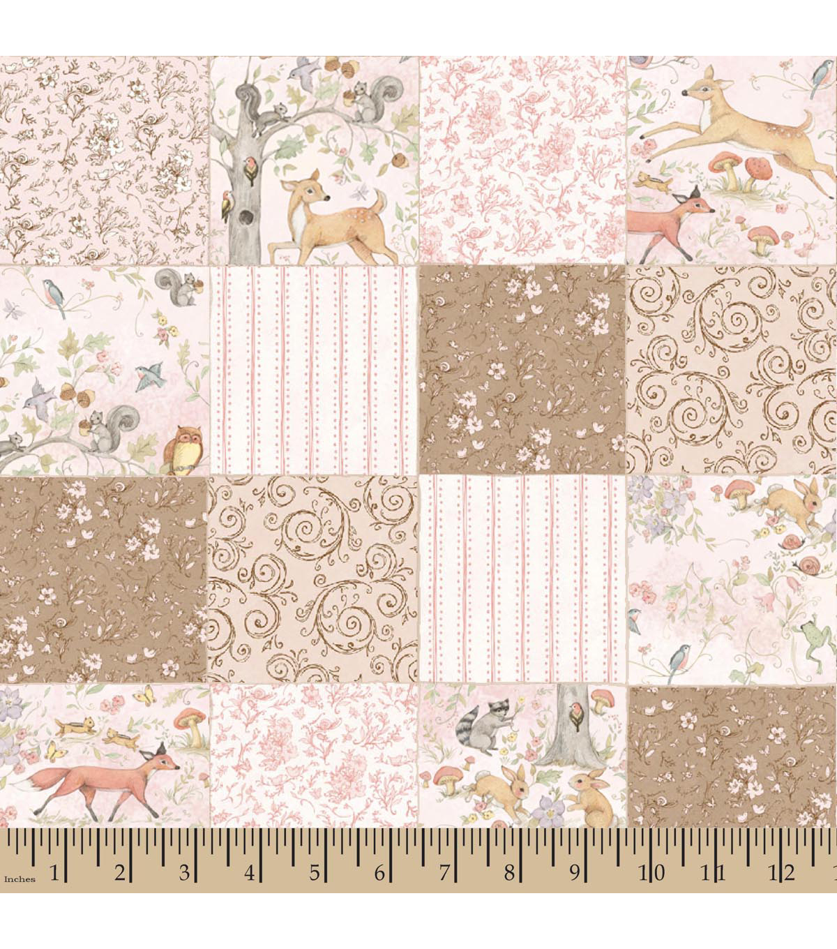 Nursery fabric susan winget woodland buddies block print for Nursery fabric sale