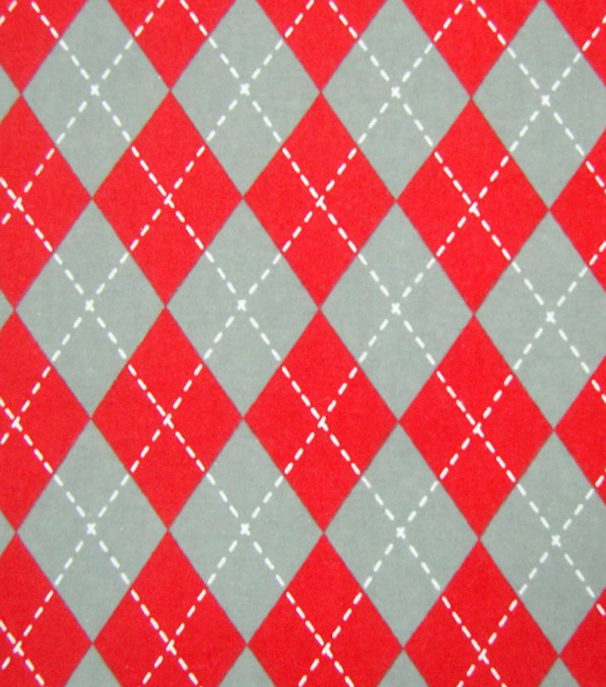 Snuggle Flannel Fabric Argyle Red Gray | JOANN