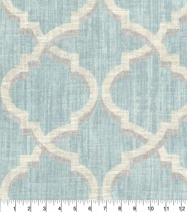 Waverly Upholstery Fabric 54''-Mineral Lustrous Lattice