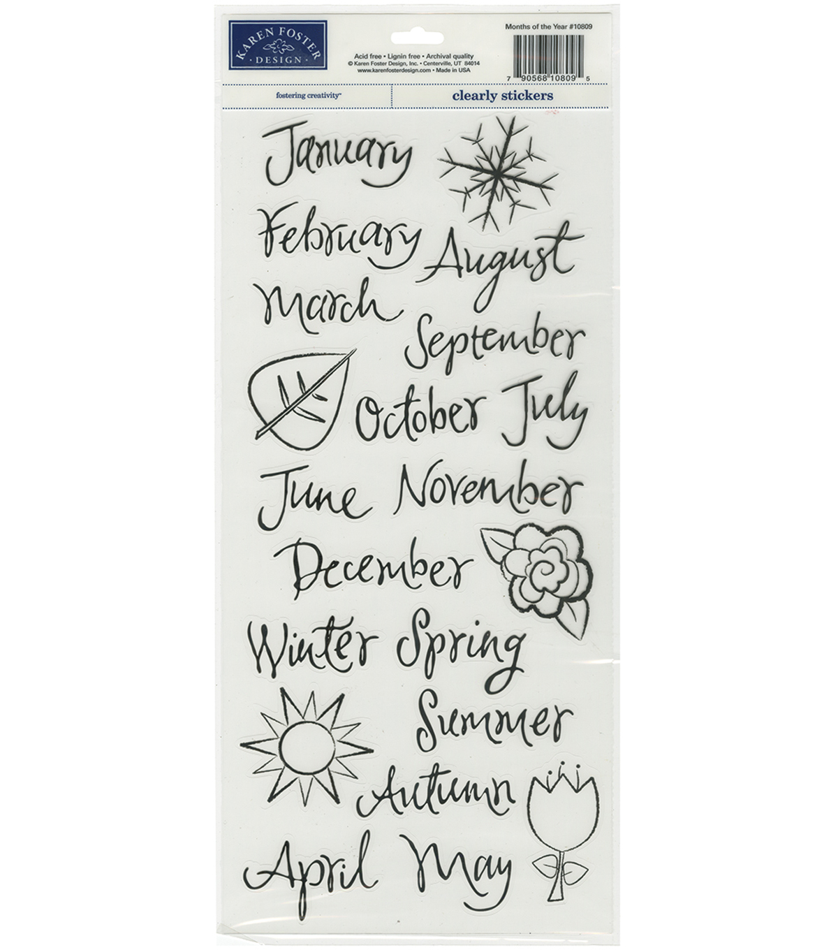 Karen Foster Clear Stickers-Months Of The Year