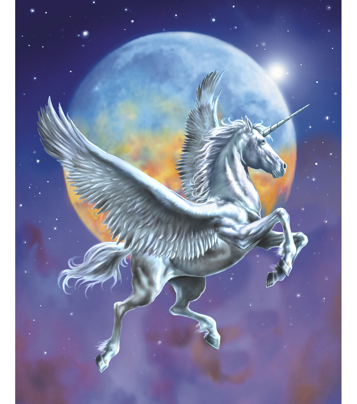 "Novelty Cotton Fabric Panel 44""-Pegasus In Flight"