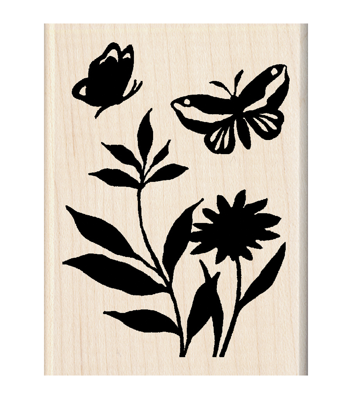 "Inkadinkado Mounted Rubber Stamp-Butterfly Flowers 2.25""X3"""