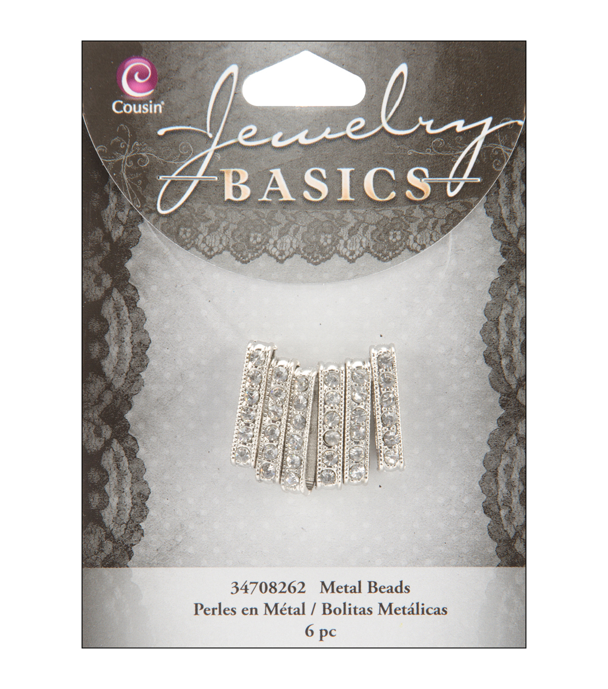 Jewelry Basics 4mmx21mm Rondelle 6/Pkg-Silver W/Crystal