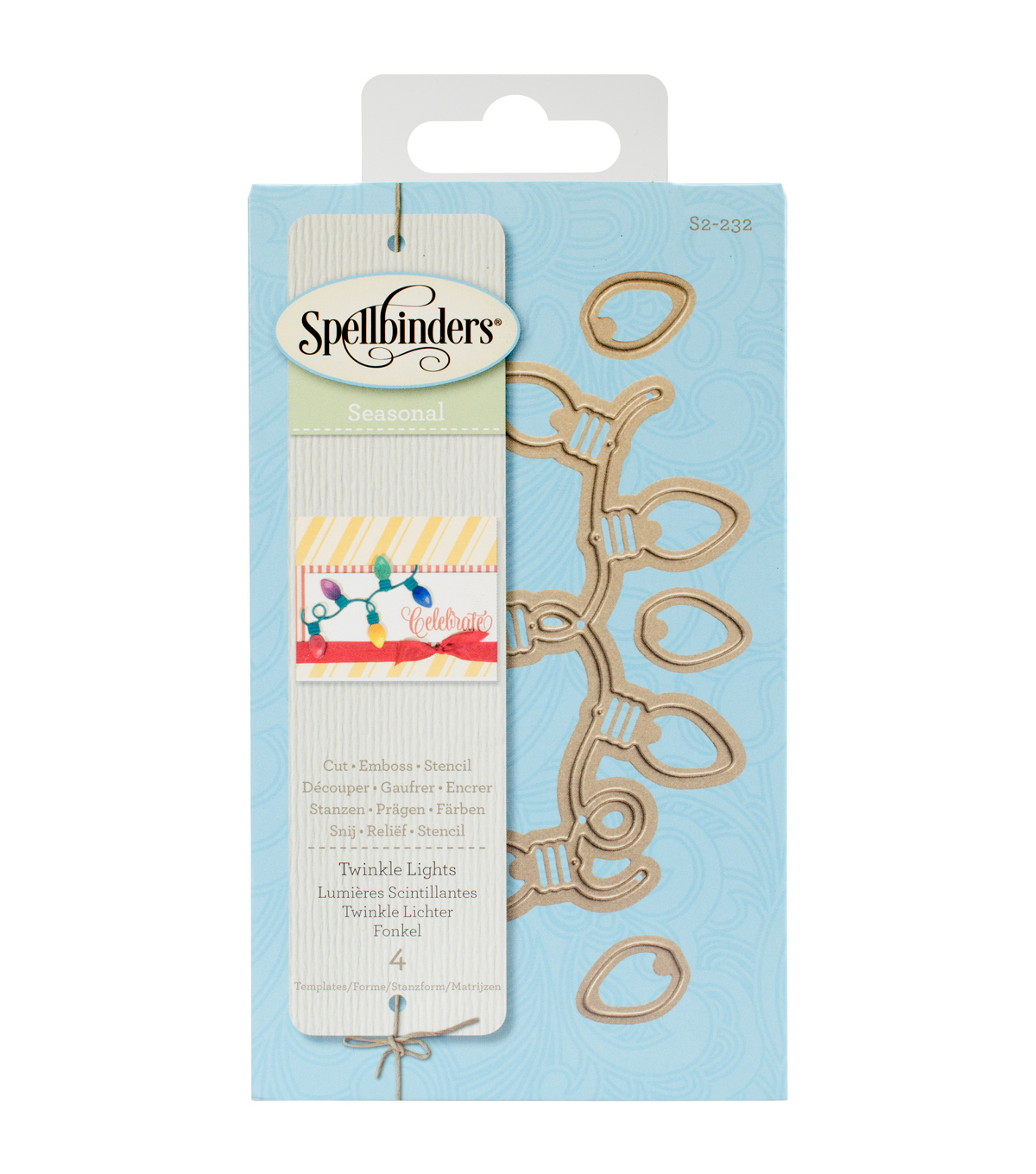 Spellbinders™ Holiday Die D-Lites 4 Pack Etched Dies-Twinkle Lights