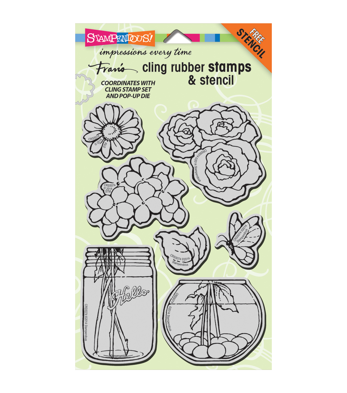 Stampendous Fran\u0027s Cling Stamp & Stencil Set - Build A Bouquet Set
