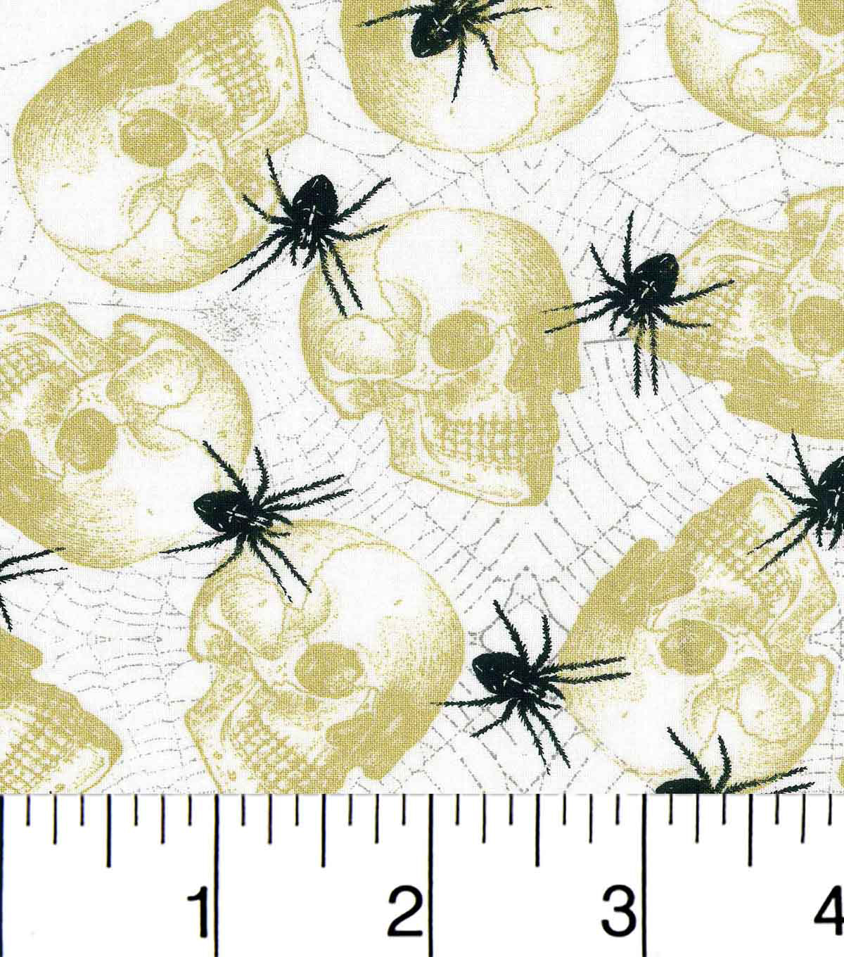 Halloween Cotton Fabric-Skulls And Spiders