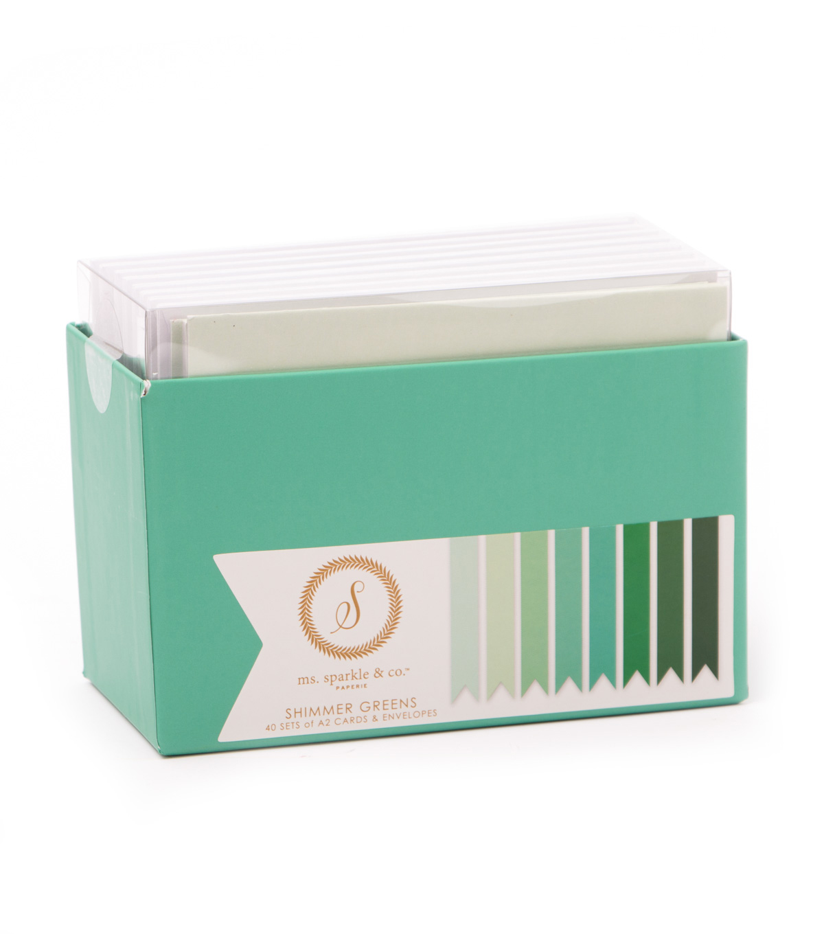 Ms. Sparkle & Co. A2 Shimmer Cards & Envelopes-Greens