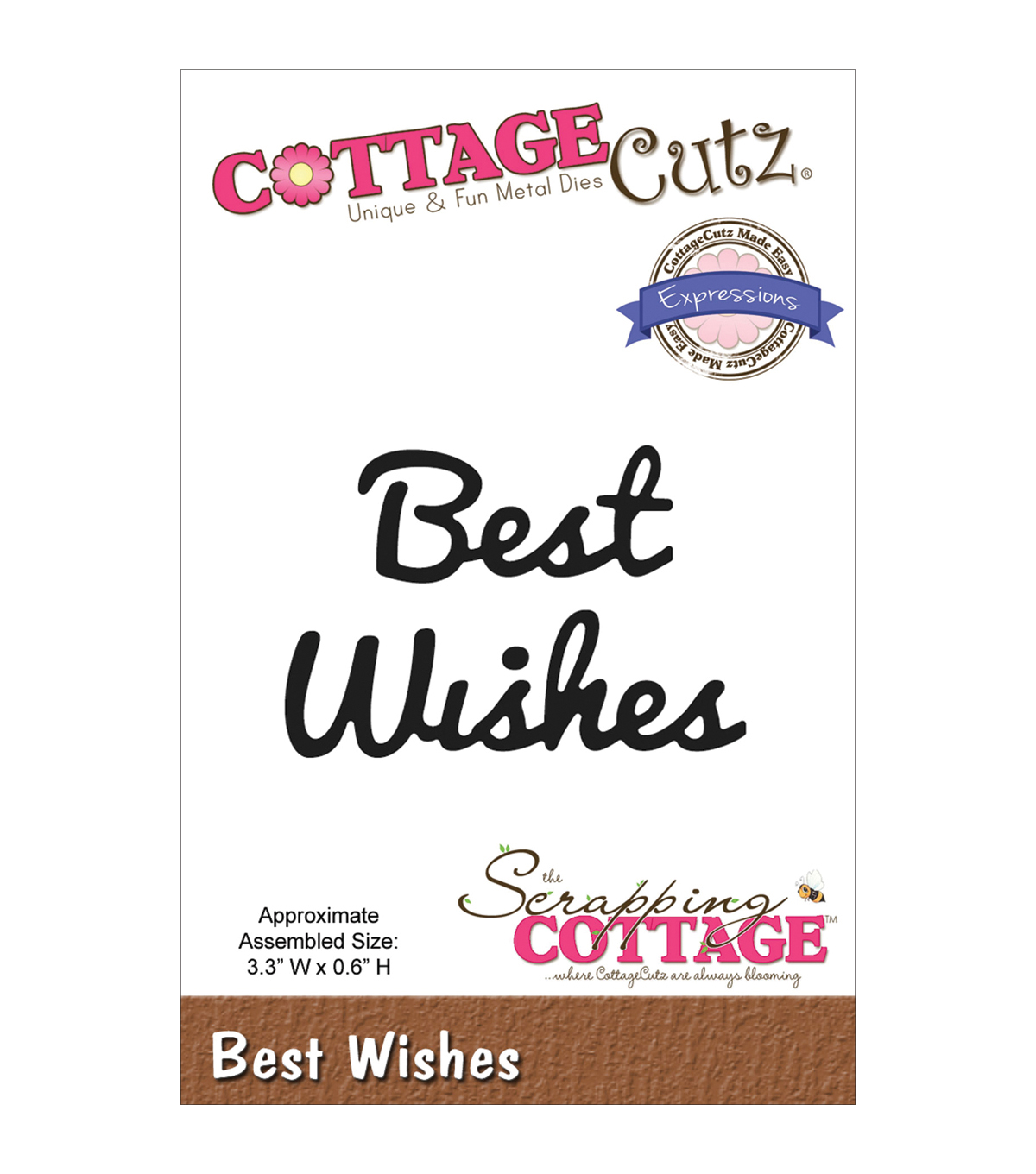 CottageCutz Expressions Best Wishes Die
