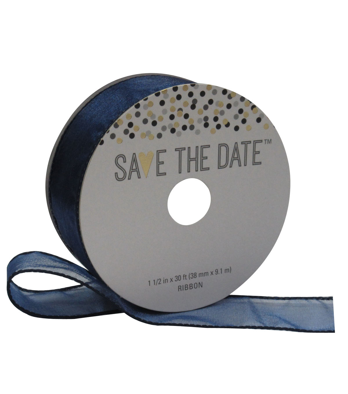 Save the Date 1.5'' X 30' Ribbon-Navy Sheer