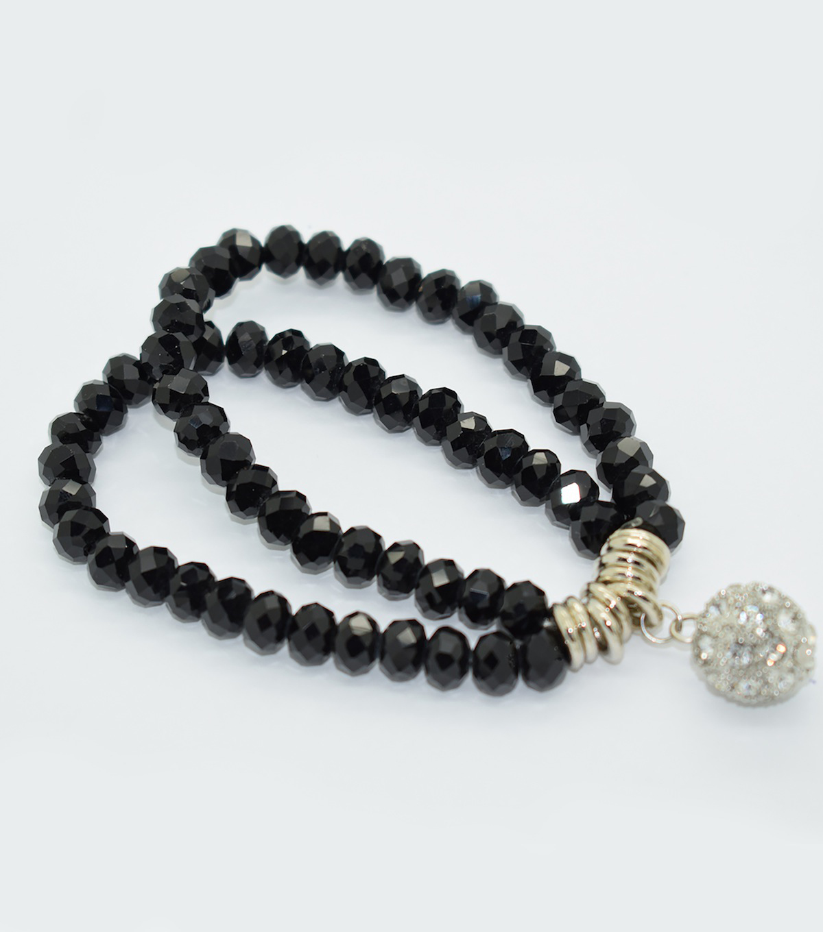 Crystal Two Line Drop Bracelet-Black