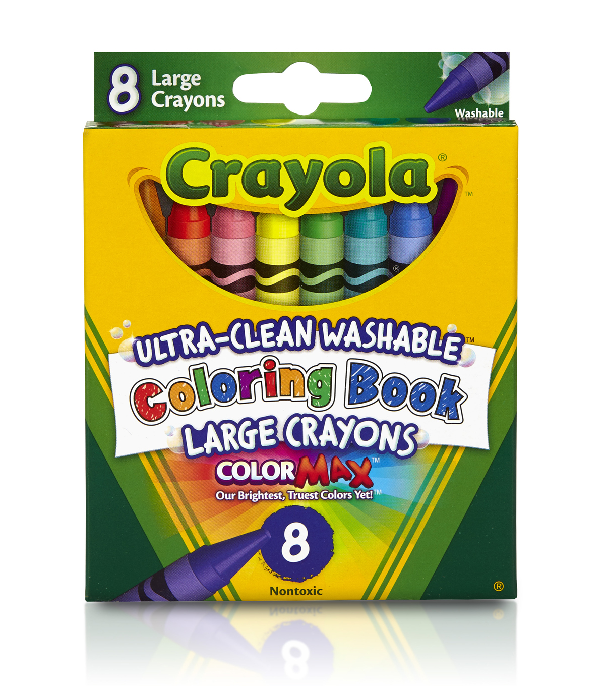 Crayola Coloring Book Large Washable Crayons-8PK