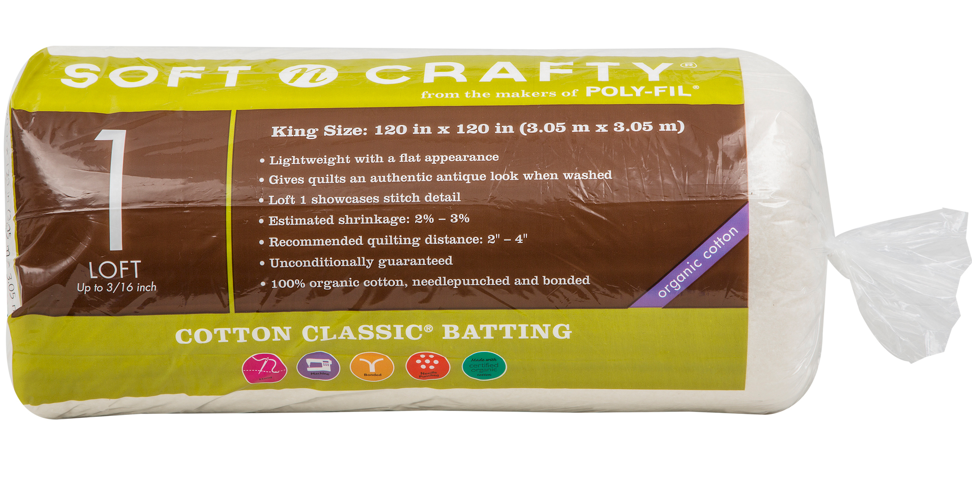 Fairfield Soft N Crafty Cotton Classic Batting 120\u0022x120\u0022