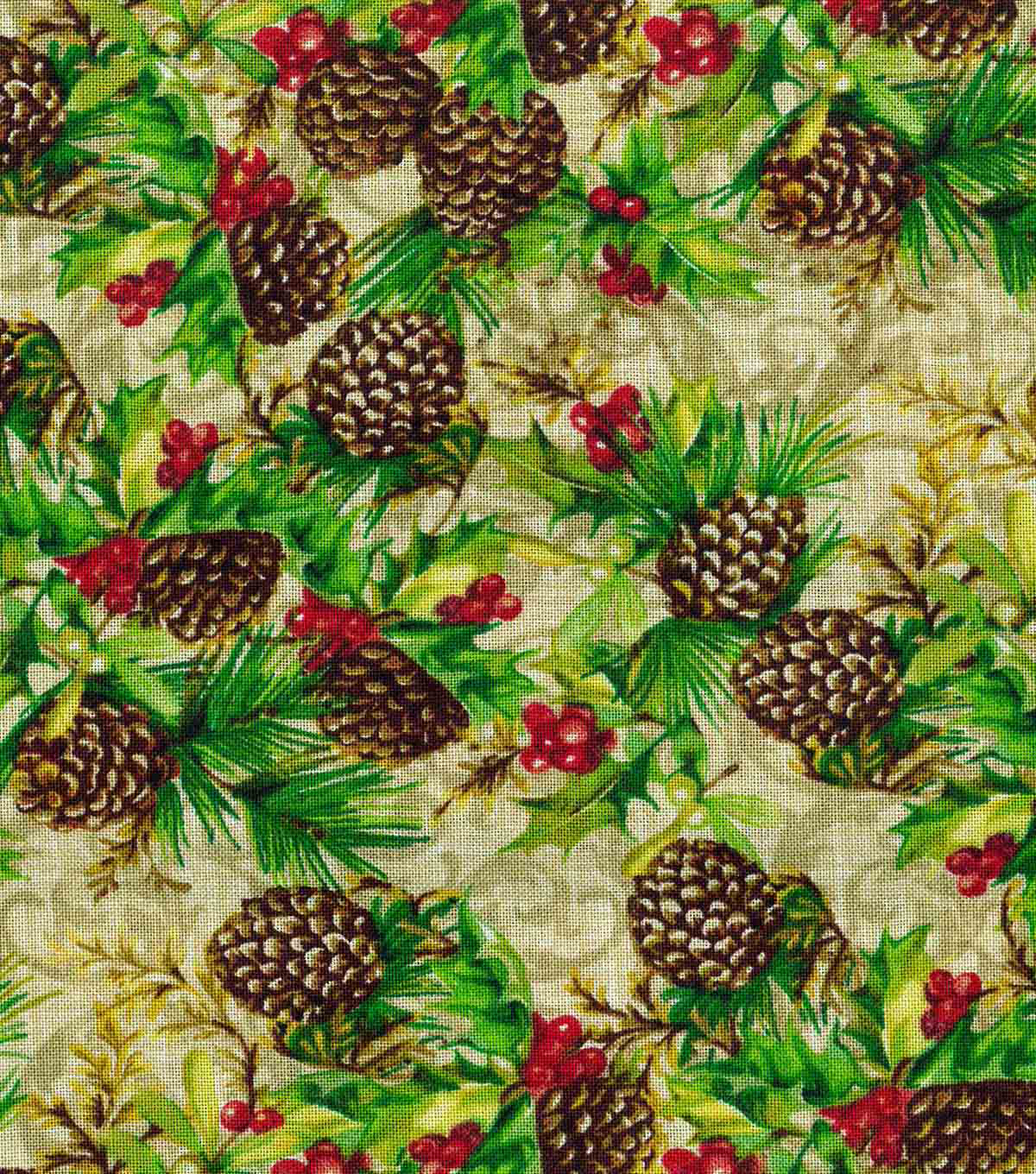 Christmas Cotton Fabric 43\u0022-Pinecones & Berries