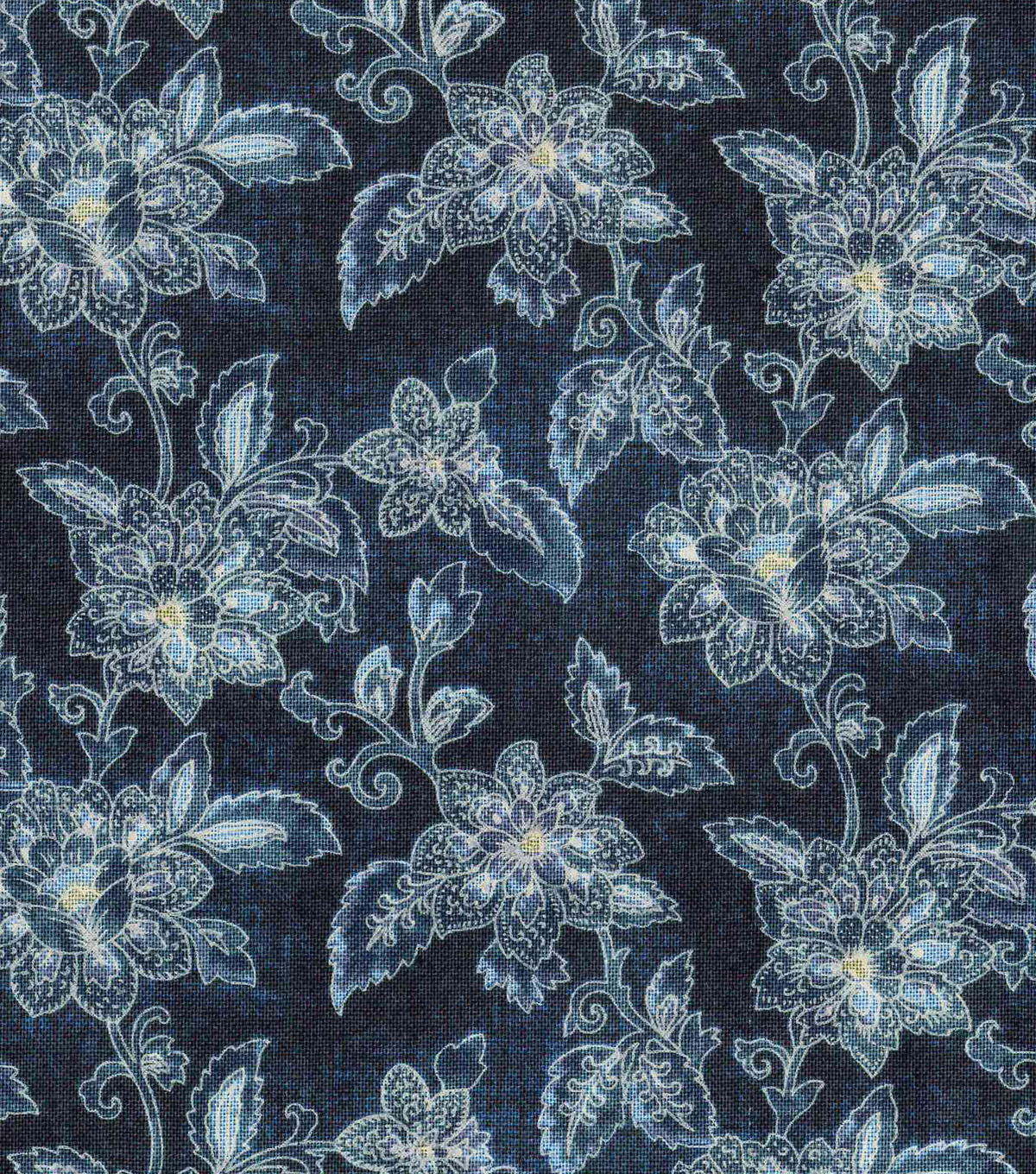 Vintage Cotton Fabric 43\u0022-Jacobean Light Blue