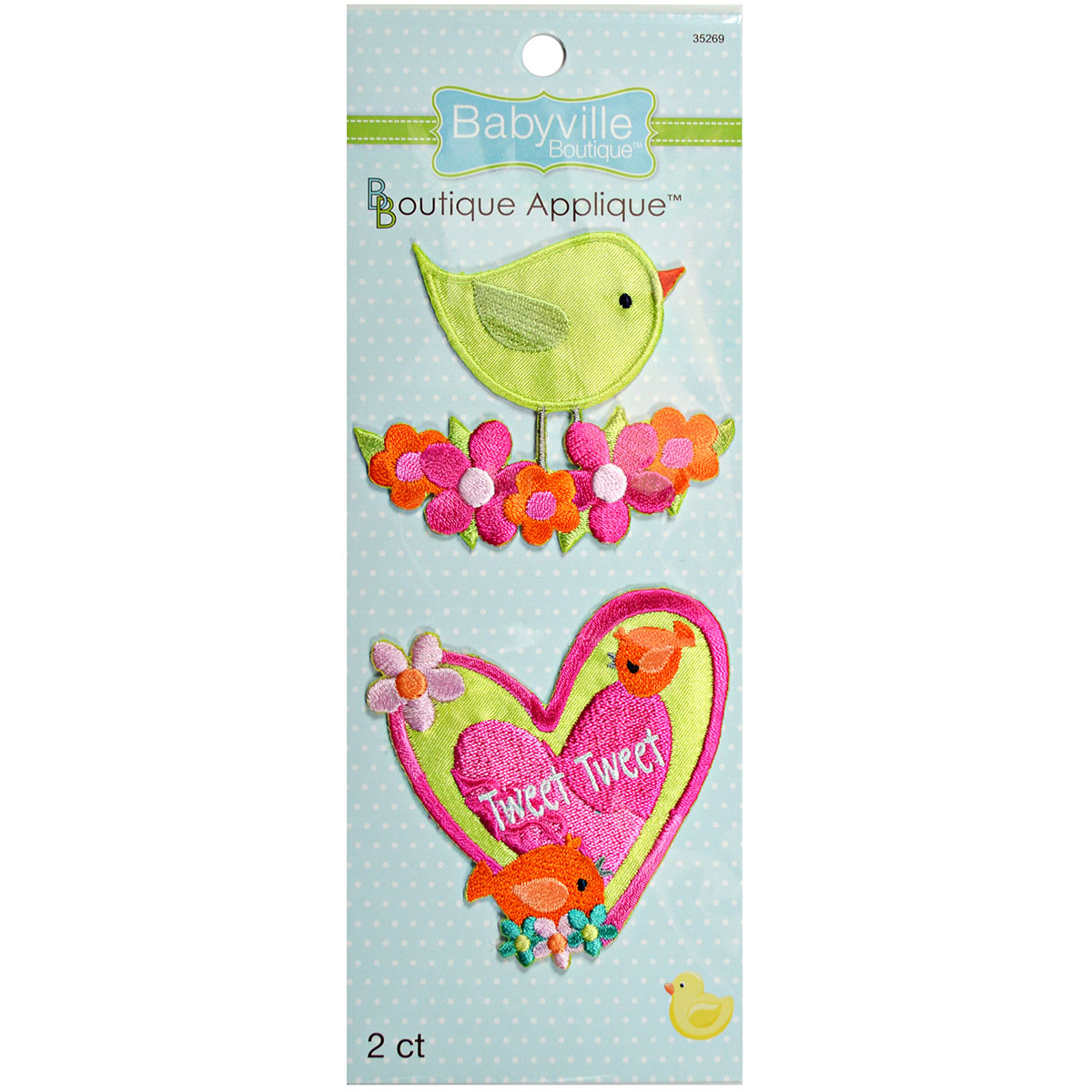 Babyville Boutique Appliques Birds And Heart 2pcs