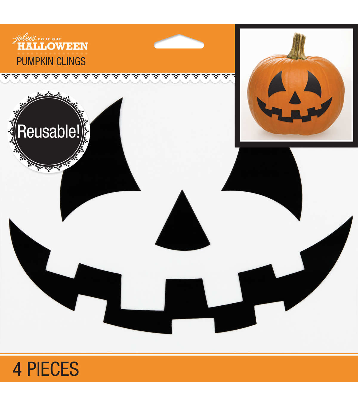 Jolee\u0027s Boutique® Halloween 4 pk Pumpkin Clings-Jack-O-Lantern Face