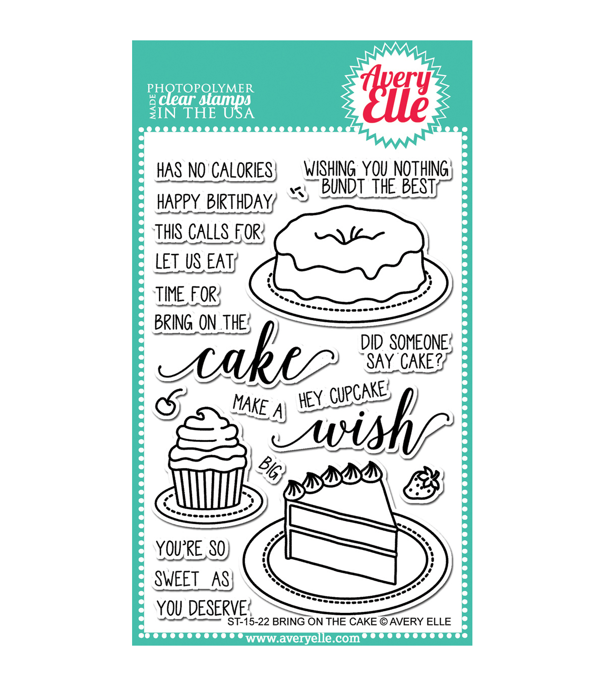 Avery Elle Clear Stamp Set-Bring On The Cake